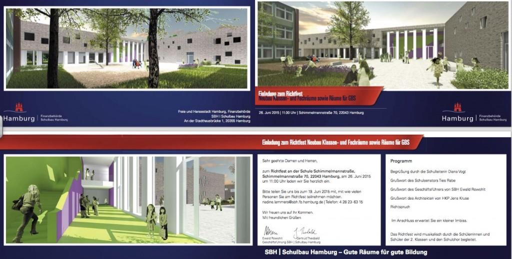 Einladungskarte Richtfest Schulneubau Grundschule Marienthal